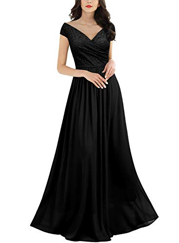 Miusol Women's Vintage Deep-V Neck Sleeveless Wedding Party Maxi Dress,Medium,Black
