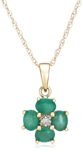 """14k Yellow Gold 4x3 Oval Emerald Floral Pendant with Diamond-Accent, 18"""""""
