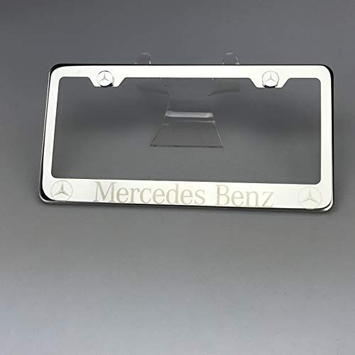 100% Stainless Steel Mercedes Benz Laser Engrave Chrome Mirror Polish License Plate Frame Holder with Logo Steel Screw Caps