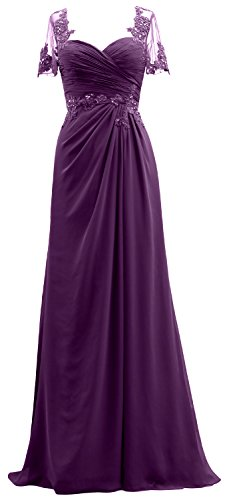The Bride Mother Lace MACloth Dress Women Short Evening Eggplant of Chiffon Sleeves Gown nvvRAf0qz
