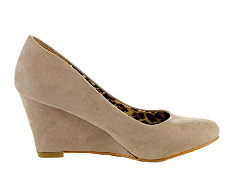 Bella Marie Womens Nine-5 Classic Almond Toe Mid Wedge Pump Slip On Shoes,10 B(M) US,Taupe
