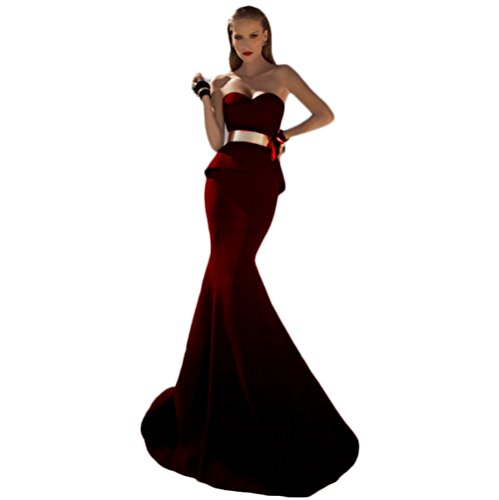 Mermaid Chupeng With Dresses Women's Evening Red Sweetheart Sashes Natural Long Waist Gold 1xTRqFC1w