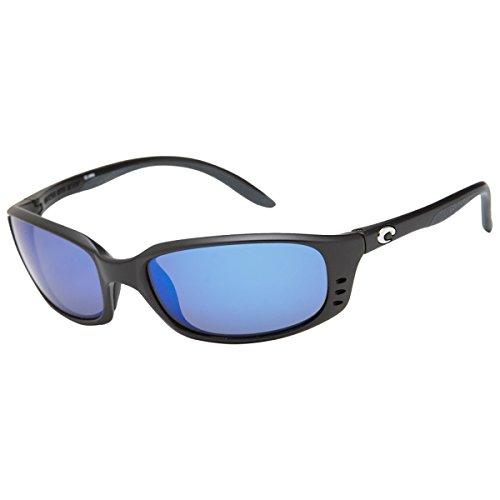 Costa Brine Polarized Sunglasses - Costa 400 Glass Lens Black/Blue Mirror, One - Luxury Manufacturer Sunglasses