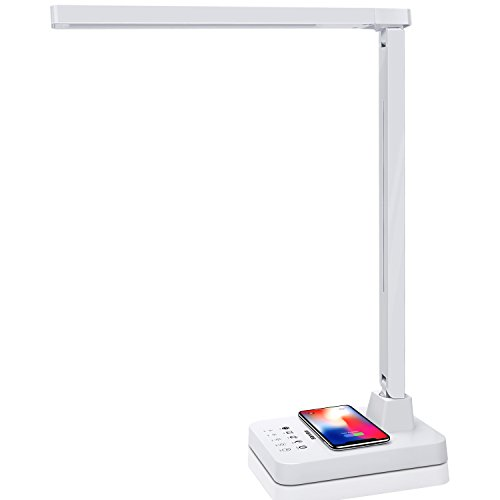 MEIKEE LED Desk Lamp Table Lamps 4 Lighting Modes with 4 Brightness Levels, 1 Hour Timer, Memory Function, Touch Control with USB Port & Wireless Charging for iPhone X/8/8P, Android Qi Enable Device by MEIKEE