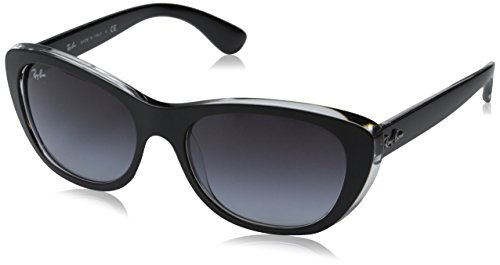 Ray-Ban Injected Woman Sunglass - Top Mat Black On Transpa Frame Grey Gradient Dark Grey Lenses 55mm Non-Polarized