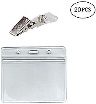 Holders, 6Packs Horizontal ID Card Name Tag Badge Holder with Waterproof Type Resealable Zip