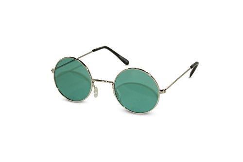 John Lennon Sunglasses Round Hippie Shades Retro Colored Lenses Retro Party (Silver frame w/ Green Lens) -