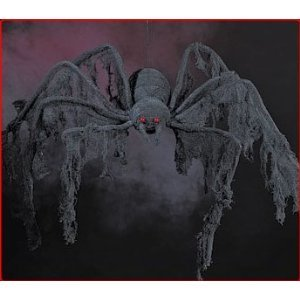Halloween decoration - GIANT Creepy Cloth SPIDER - extends 4 feet