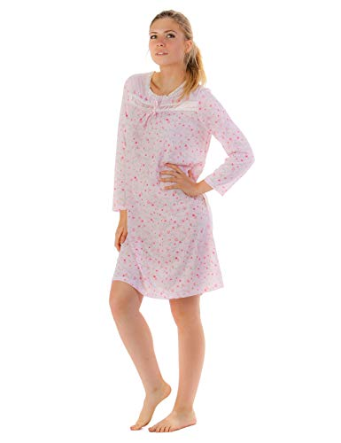 Casual Nights Women's Cotton Blend Long Sleeve Nightgown - Floral Embroidery Pink - X-Large