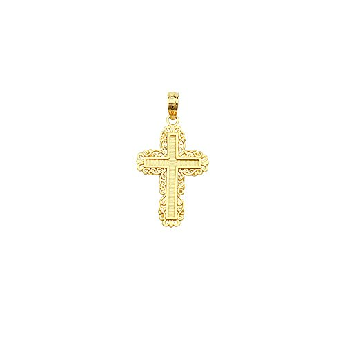 10k Yellow Gold Fancy Embossed Cross Pendant With Filigree Border