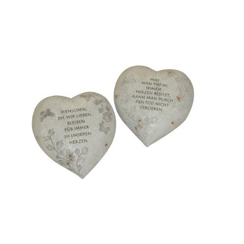 Greemotion Herz, ca. 20,5 x 20 x 11,5 cm aus Polyresin, Grau, 20,5x20x11,5cm