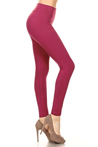 (Leggings Mania Women's Plus Solid Leggings with Wide Yoga Waistband Berry)