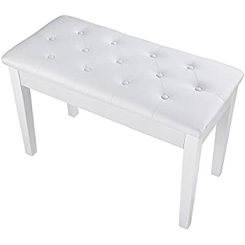 """AW White 29x13x17"""" Piano Bench Dual PU Padded Keyboard Double Storage Seat Weight Capacity 264lbs"""
