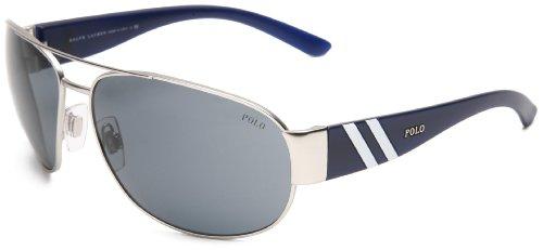 Polo Ralph Lauren Men's 0PH3052 904687 Aviator Sunglasses,Matte Silver Frame/Grey Lens,One Size (Polo Sunglasses Ralph Lauren)