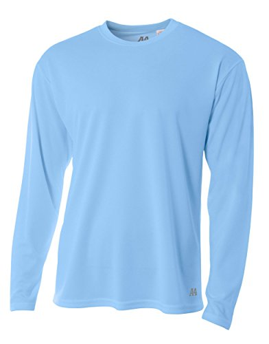 A4 Men's Birdseye Mesh Crew Long Sleeve Tee, Light Blue, Large