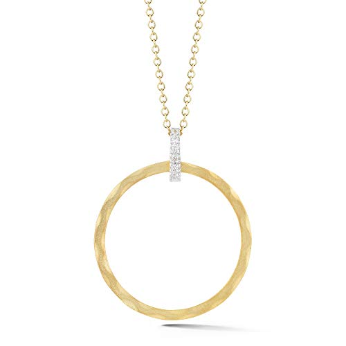 I REISS 14K Yellow Gold 0.06ct TDW Diamond Accent Open Round Pendant Necklace ()