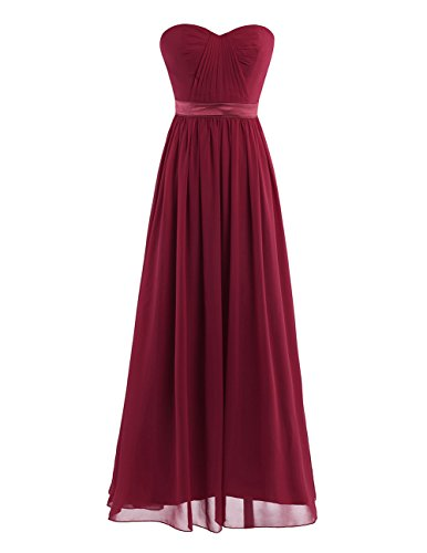 YiZYiF Chiffon Pleated High-Waisted Empire Bridesmaid Dress Long Evening Prom Gown Burgundy 10