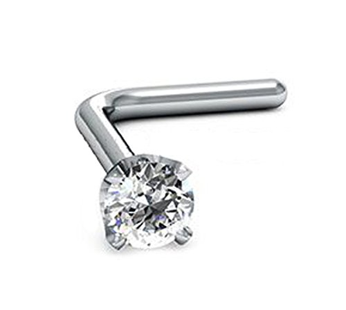 2.0mm Round-Cut-Diamond and 18K White Gold L-Shaped Nose Pin/ Stud (7.0mm |22G)