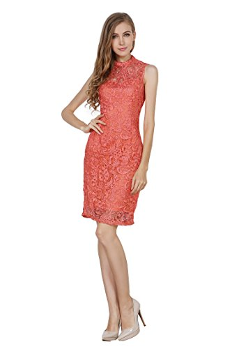 Little Smily Women's Crochet Lace Form Fitting High Neck Cocktail Bodycon Dress, Coral, S