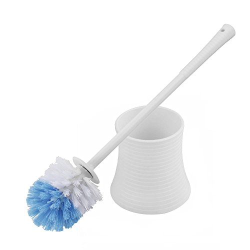 Toilet Brush,Kinsky Strong Bristles Good Grips Hideaway Compact Long Brush and Enough Heavy Base for Bathroom - Clean Toilet Brush