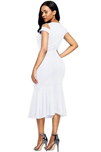 Women's Midi Cold White Hem Shoulder Dress Bodycon Mermaid AlvaQ Party 4pd6wUq6