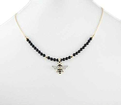 - 14K Gold Genuine Black Coral Bumble Bee Pendant Necklace 16 in. LLD Jewelry