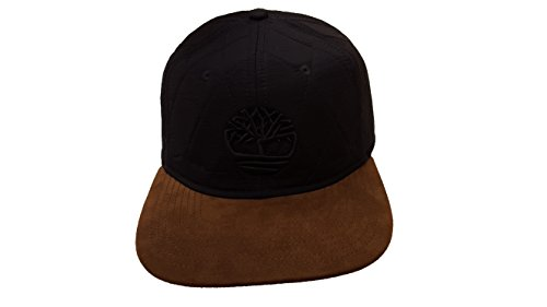 Timberland Quilted Nylon Flat Brim Leather Strapback Cap (One Size, Black/Brown/Black)
