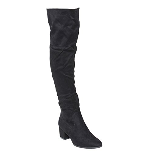 Nature Breeze Women's FF00 Over The Knee Mid High Block Heel Boots, Black 9