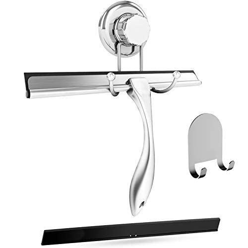 (HASKO accessories Bathroom Shower Squeegee Chrome Plated Stainless Steel with Matching Suction Cup Hook Holder, 3M Adhesive Mounting Disc, 3M Hook,1 Replacement Rubber Blade, 9.8-Inch)
