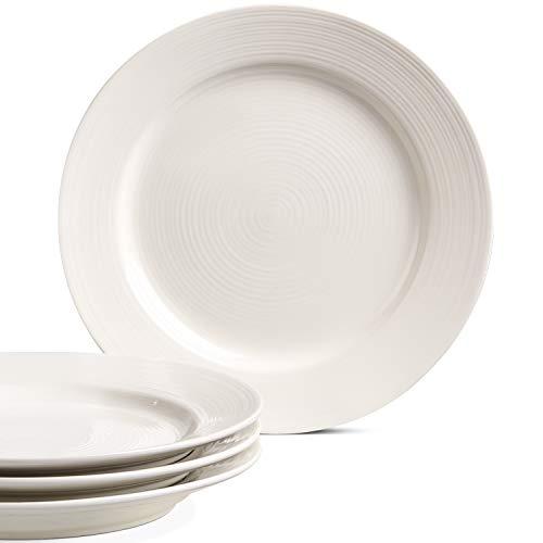 LE TAUCI Ceramic Dinner Plate Set - 10 Inch for Breakfast, Dinner, Set of 4, Marshmallow White