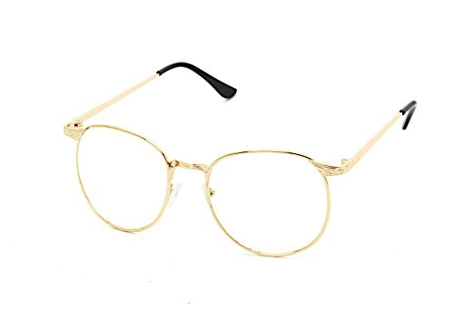 Engraved Clear Glass (Flowertree S3115 Metal Frame Engraved Detail Side Round Eyeglasses (gold+black, 0))