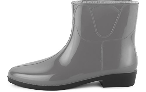 Ladeheid Women's Ankle Rubber Wellington Boots LAZT201801 Grey xW3QV