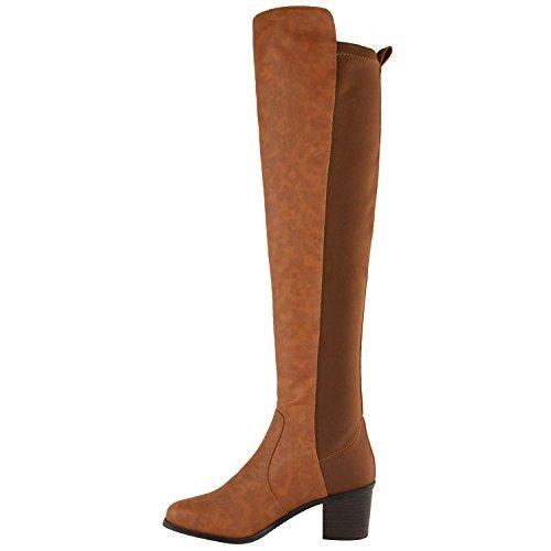 Donna Fashion Thirsty sopra al ginocchio aderenti alti elasticizzato pull on tacco basso medio stivali scarpe