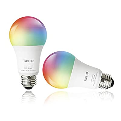Smart WiFi LED Light Bulbs Compatible with Alexa Google Home? Siri and Echo(No Hub Required), TIKLOK RGBCW Multi-Color, Warm to Cool White Dimmable 7.5W E26 A19 Color Changing Bulb(2 Pack)