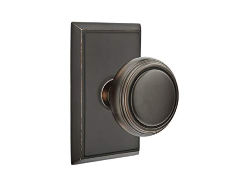 Emtek Privacy Set, Rectangular Rosette, Norwich Knob, Oil Rubbed Bronze US10B ()
