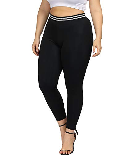 Allegrace Women Plus Size Stretch High Waist Soft Leggings Full Length Slim Legging Pants Black 1X
