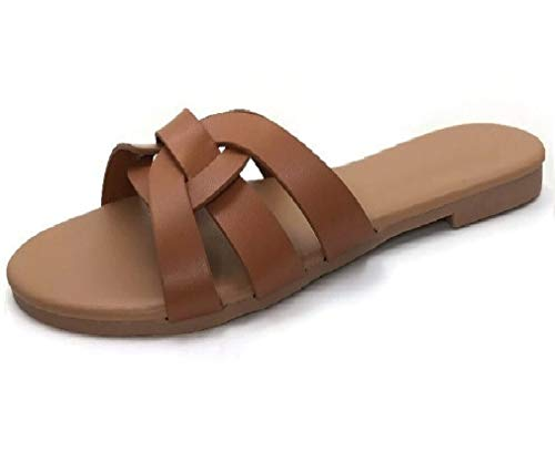 Flat Slide Sandal with Single Over The Toe Braided Criss Cross Strap, Tan, 6.5