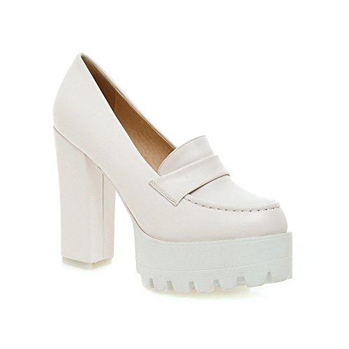 BalaMasa Ladies Platform Thread Chunky Heels Microfiber Pumps-Shoes White tC69QVDD