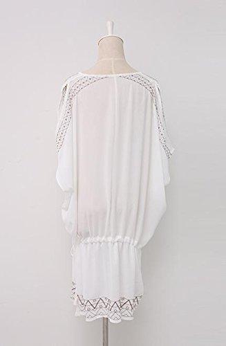 &zhou Mujer playa ropa bikini blusa, suéter, hueco traje de baño blusa mantón , one size , white White