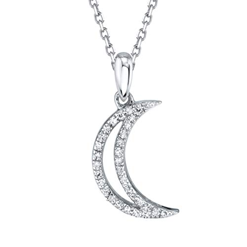 SERAFINA Diamond Moon Charm Pendant Necklace Little Treasures   925 Sterling Silver Name Necklace with Natural Diamonds   0.06 Carats and 16