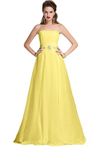sunvary una línea sin tirantes gasa dama de honor vestidos de con lazo de largo Daffodil