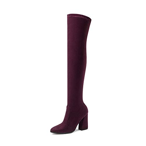 Hauts des Cuir Dames d'automne Couvrent Cuir Chaussures Genou décontractées du HCBYJ Les et d'hiver Chaussures Bottes Bottes de PU Talons sur Femmes Talons en hauts de EpxwHY6w