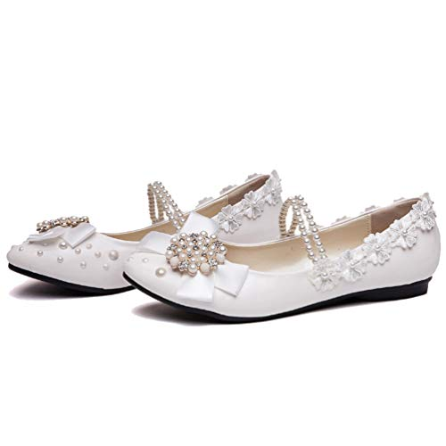 getmorebeauty Women's Mary Jane Flats Pearls Bows Across -