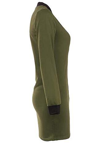 Colores Con Gabardina Larga Otoño Sólidos Jacket Streetwear Cómodo Retro Parkas Mujer Cuello Stand Fit Gabardinas Slim Manga Verde Biker Cremallera Elegante Swag fdqxvwI8v