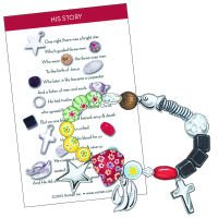 (Roman Story of Jesus Christ Multicolor Beaded Charms Fashion Bracelet with Story Card, Adult Size)