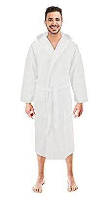 Soft Touch Linen Men's Hooded Robe, Turkish Cotton Terry Hooded Spa Bathrobe