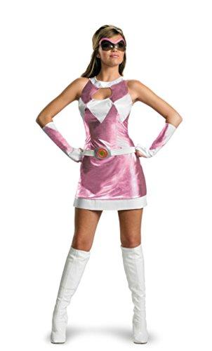 Disguise Womens Pink Power Ranger Sassy Dress Halloween Themed Fancy Costume, L ()