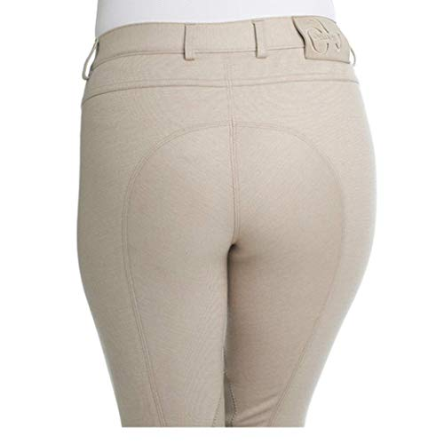(Ovation Women's Euro Melange Zip Front Knee Patch Cotton Breeches, Neutral Beige, 26 Regular)
