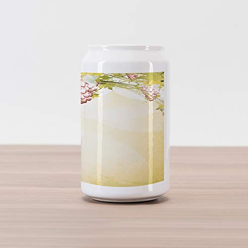 Lunarable Vineyard Cola Can Shape Piggy Bank, Grapevine Pattern in Dark Sepia Colors French Village Large Branches Region Countryside, Ceramic Cola Shaped Coin Box Money Bank for Cash Saving, Green