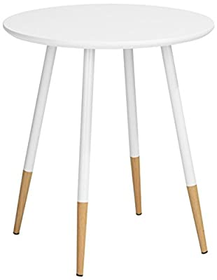 Aingoo 30-Inch Bar Stool Dinning Chair Natural Wood Legs and ABS White Seat , Set of 2